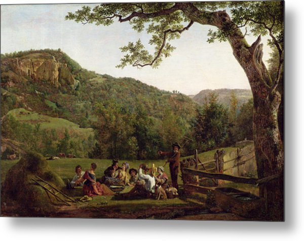 Haymakers Picnicking In A Field Metal Print