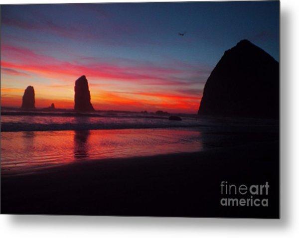 Haystack Rock At Sunset 2 Metal Print