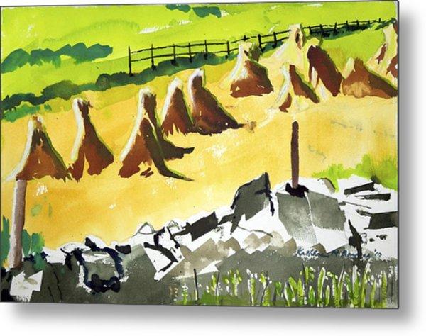 Haystacks And Wall Metal Print