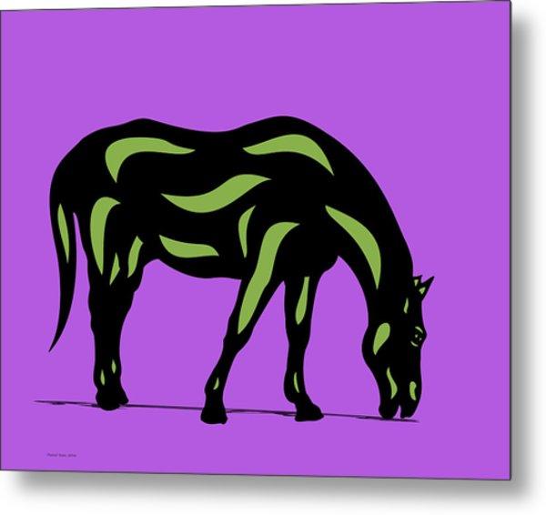 Hazel - Pop Art Horse - Black, Greenery, Purple Metal Print