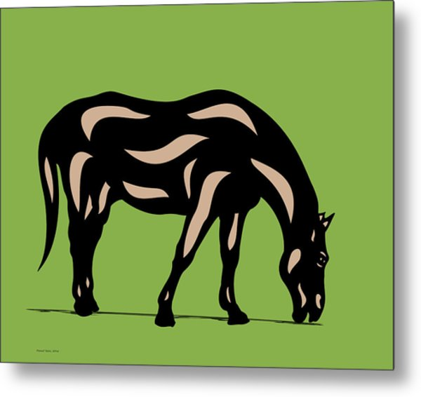 Hazel - Pop Art Horse - Black, Hazelnut, Greenery Metal Print