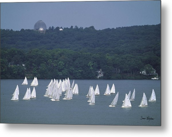 Hazy Day Regatta - Lake Geneva Wisconsin Metal Print