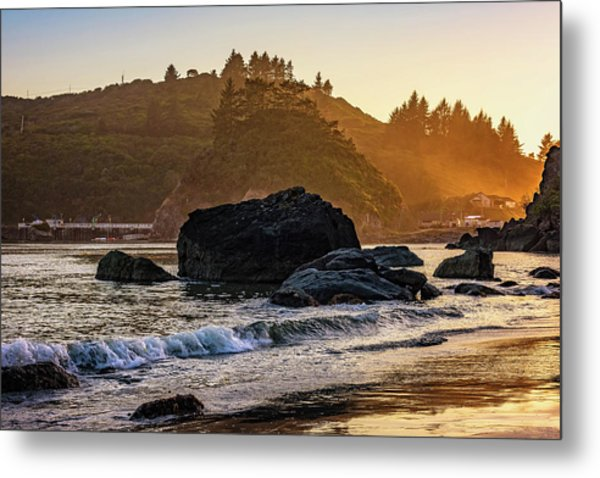 Hazy Golden Hour At Trinidad Harbor Metal Print