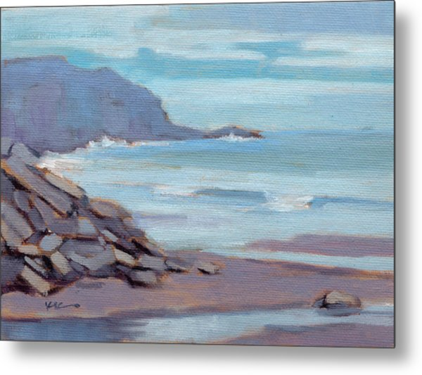 Metal Print featuring the painting Hazy Morning At Moro Beach  by Konnie Kim