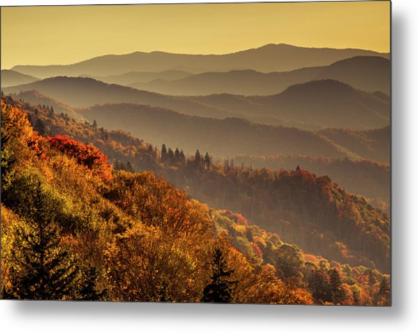 Hazy Sunny Layers In The Smoky Mountains Metal Print