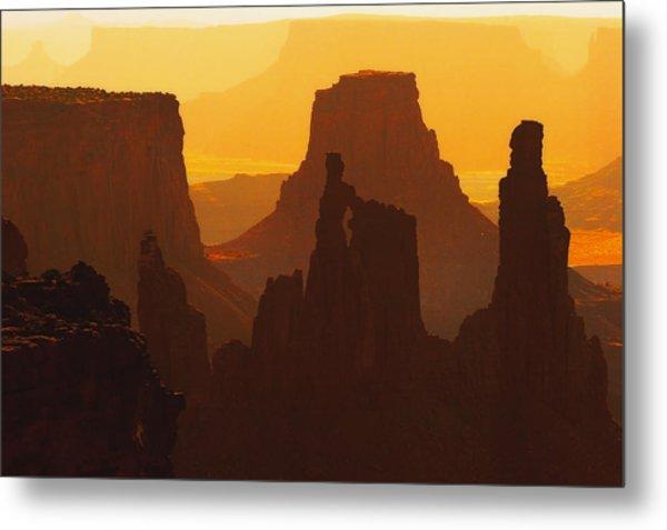 Hazy Sunrise Over Canyonlands National Park Utah Metal Print