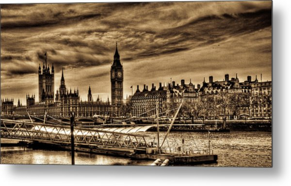 Hdr Sepia Westminster Metal Print