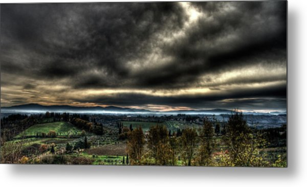 Hdr Tuscany Sunset Metal Print