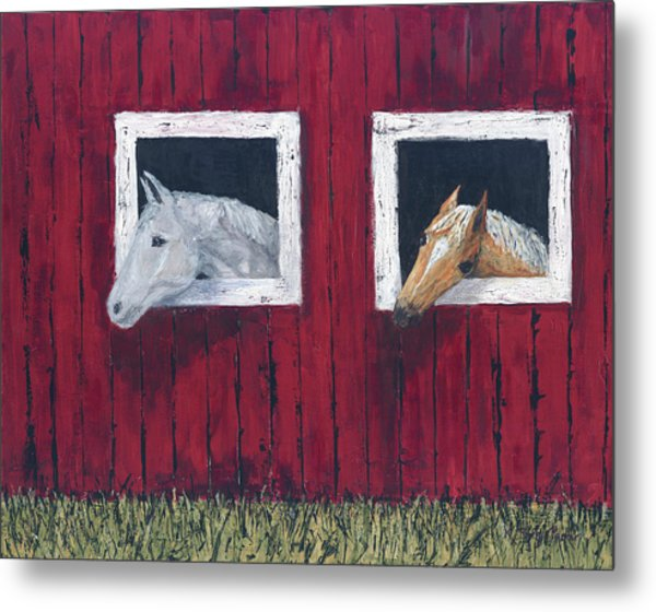 Metal Print featuring the painting He And She by Kathryn Riley Parker