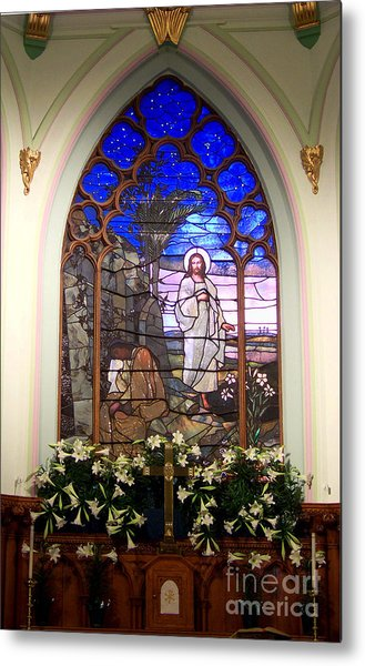 He Is Risen Stained Glass Window Metal Print