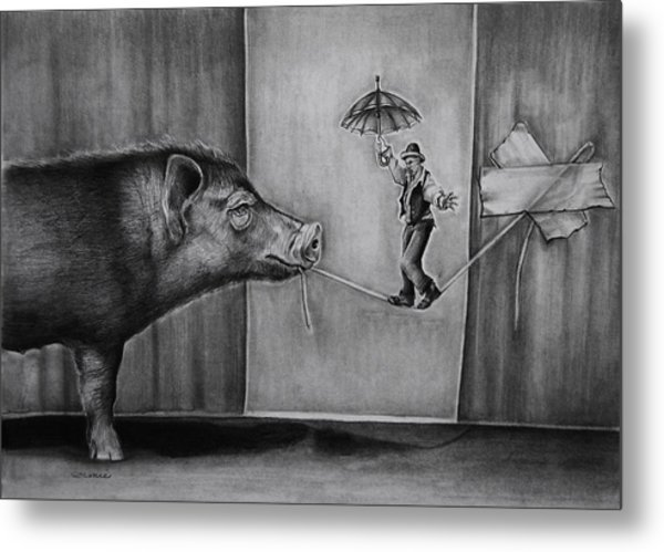 He Was Reaching The End Of His Rope Metal Print