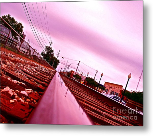 Head On The Tracks Metal Print by Chuck Taylor