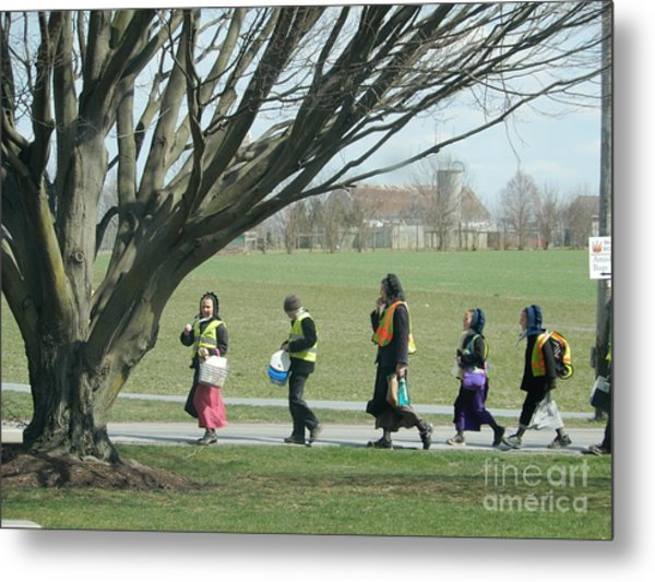 Heading Home From School Metal Print