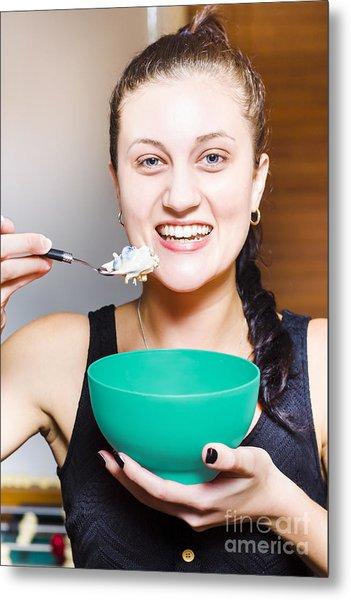 Healthy And Happy Woman Eating Morning Breakfast Metal Print