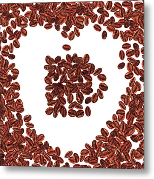 Heart And Love For Coffee Metal Print