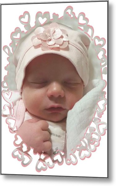 Heart Border On Newborn Girl Metal Print