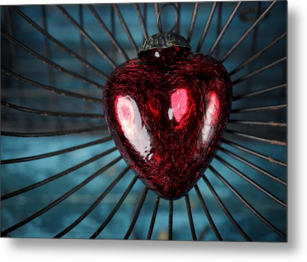 Heart In Cage Metal Print