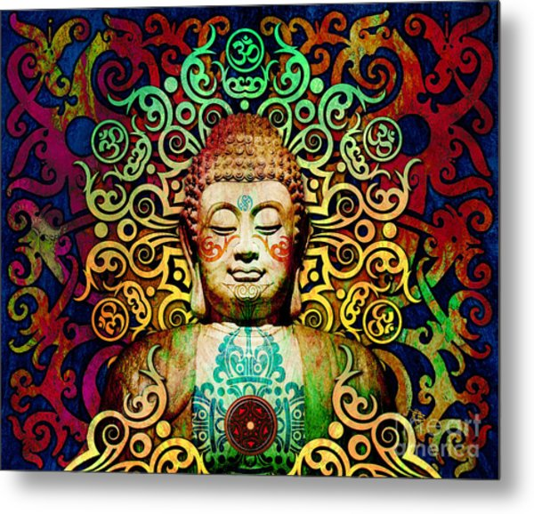 Heart Of Transcendence - Colorful Tribal Buddha Metal Print