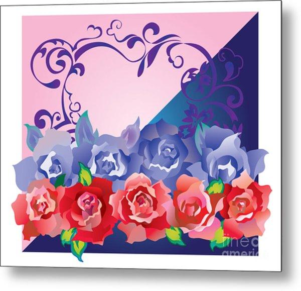 Heart Post Card Metal Print