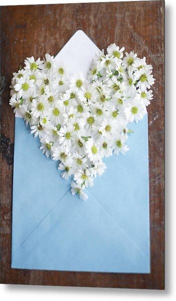 Heart Shaped Daisies In Blue Envelope Metal Print