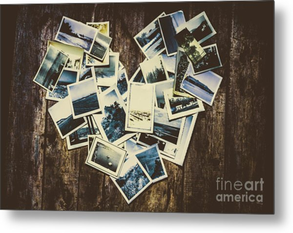 Heart-shaped Instant Photographs On Wooden Background Metal Print