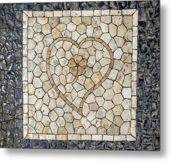 Heart Shaped Traditional Portuguese Pavement Metal Print