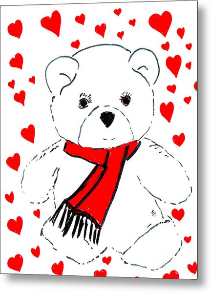 Heart Teddy Metal Print