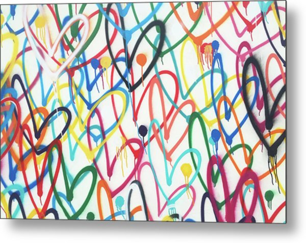 Hearts And Dots Metal Print