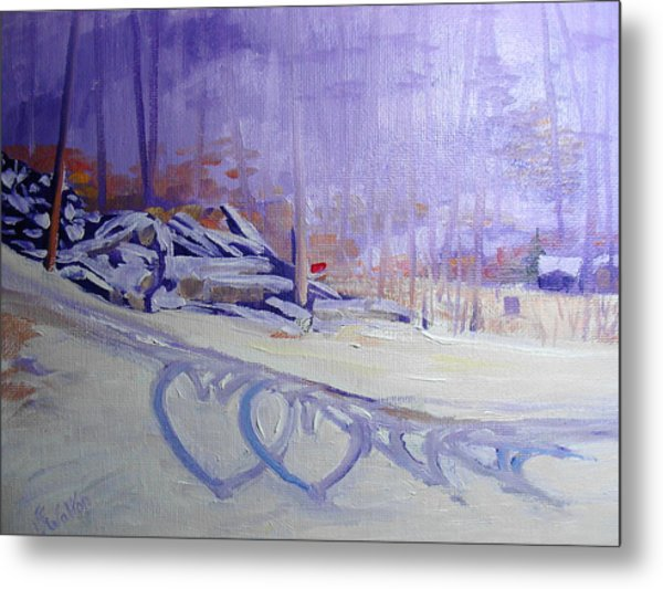 Hearts In The Snow Metal Print by Judy Fischer Walton