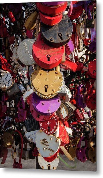 Hearts Locked In Love Metal Print