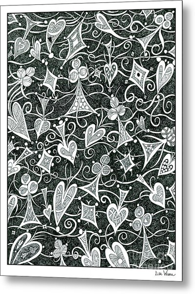 Hearts, Spades, Diamonds And Clubs In Black Metal Print