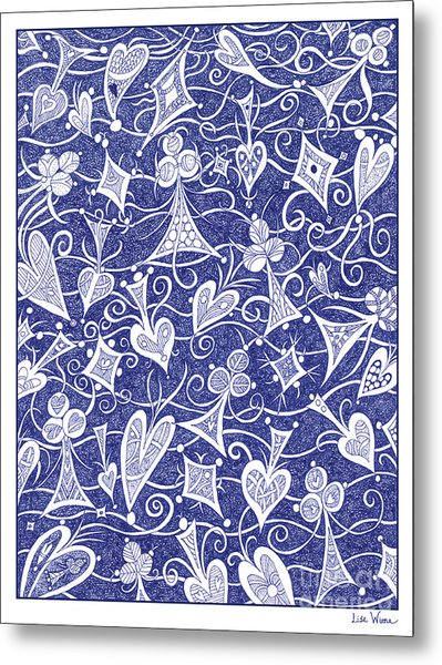 Hearts, Spades, Diamonds And Clubs In Blue Metal Print