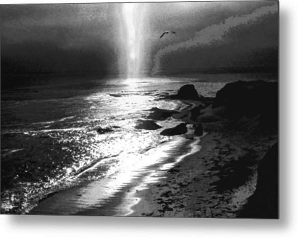 Heavens Light Black And White Metal Print