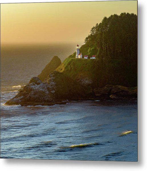 Heceta Head Lighthouse At Sunset Metal Print