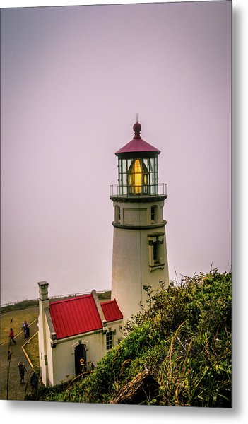 Heceta Head Lighthouse In The Fog Metal Print