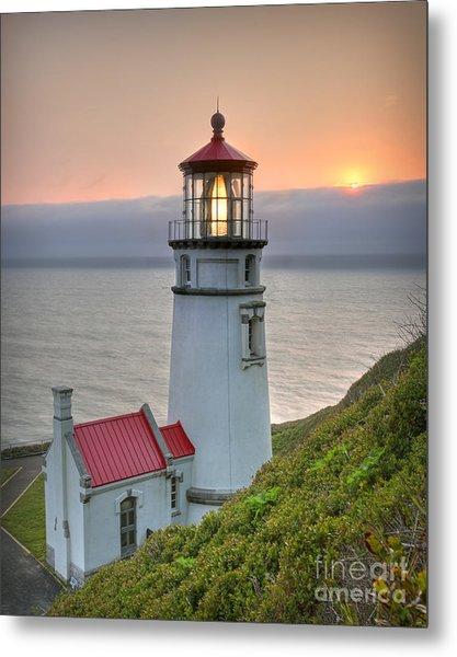 Heceta Lighthouse At Sunset Metal Print