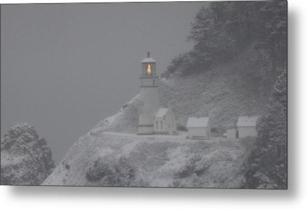 Heceta Lighthouse Snowstorm Metal Print
