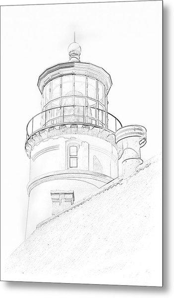 Hecitia Head Lighthouse Sketch Metal Print