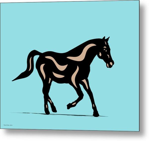 Heinrich - Pop Art Horse - Black, Hazelnut, Island Paradise Blue Metal Print