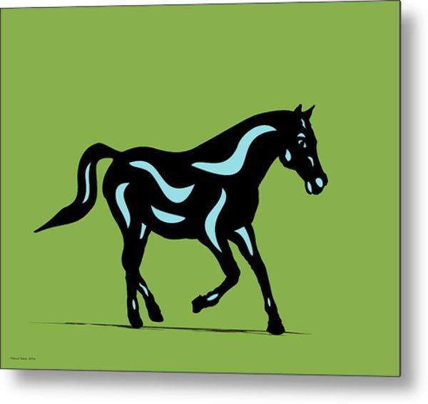 Heinrich - Pop Art Horse - Black, Island Paradise Blue, Greenery Metal Print
