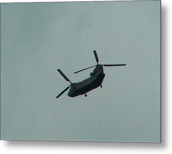 Helicopter Leaving Airport Metal Print by Lila Mattison