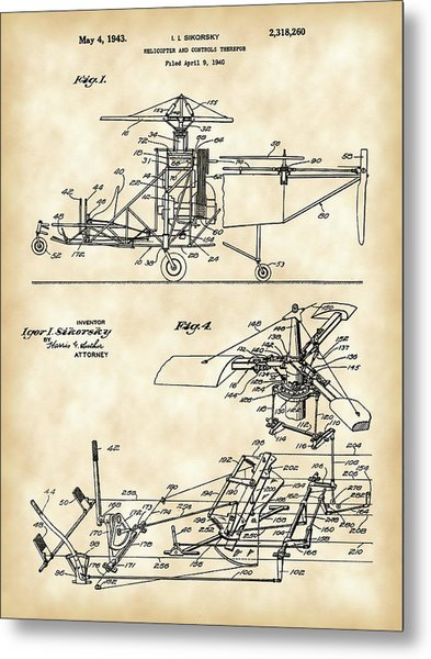 Helicopter Patent 1940 - Vintage Metal Print