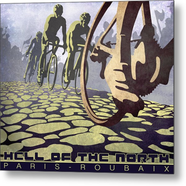 Hell Of The North Retro Cycling Illustration Poster Metal Print