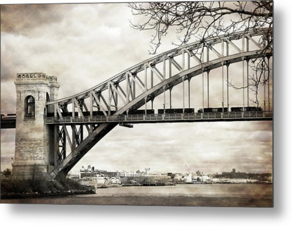 Hellgate Bridge In Sepia Metal Print
