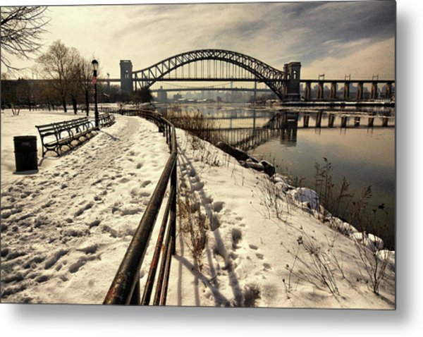 Hellgate Bridge In Winter Metal Print