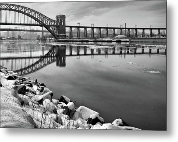 Hellgate Half Reflection Metal Print