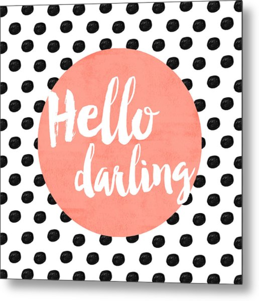 Hello Darling Coral And Dots Metal Print