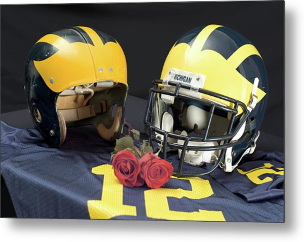 Helmets Of Different Eras With Jersey And Roses Metal Print