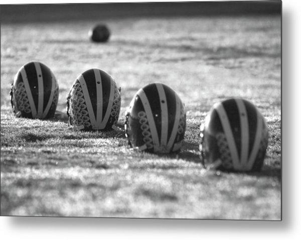 Metal Print featuring the photograph Helmets On Dew-covered Field At Dawn Black And White by Michigan Helmet