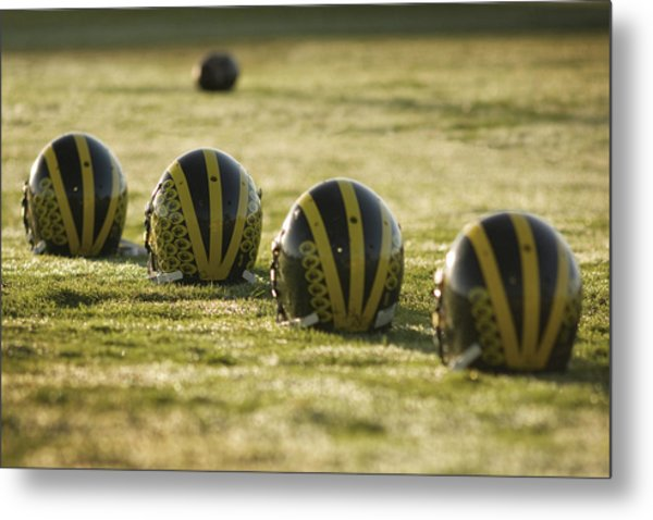 Metal Print featuring the photograph Helmets On Dew-covered Field At Dawn by Michigan Helmet